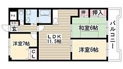 愛知県名古屋市名東区貴船1丁目の賃貸マンションの間取り