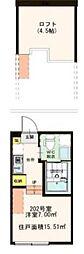 東京都葛飾区東新小岩5丁目の賃貸アパートの間取り