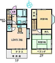 [テラスハウス] 神奈川県海老名市上今泉5丁目 の賃貸【/】の間取り