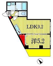 Vermilion(ヴァーミリオン) 1階1LDKの間取り