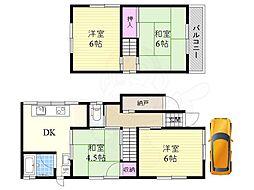 阪急京都本線 相川駅 徒歩5分の賃貸一戸建て 1階4DKの間取り