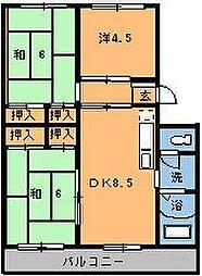 第2本橋フラワーマンション[302号室]の間取り