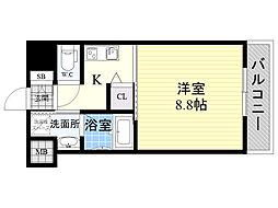 ヴェリテ新大阪イースト 8階1Kの間取り