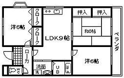 岸城マンション[1階]の間取り