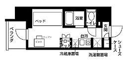 京急本線 京急川崎駅 徒歩5分の賃貸マンション 8階ワンルームの間取り