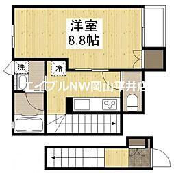 岡山電気軌道清輝橋線 清輝橋駅 徒歩17分の賃貸アパート 2階1Kの間取り