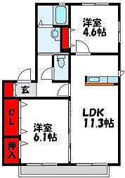 福岡県遠賀郡水巻町古賀2丁目の賃貸アパートの間取り