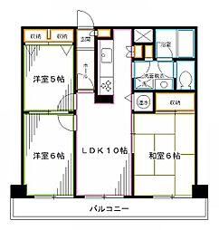 JR中央本線 中野駅 徒歩4分の賃貸マンション 4階3LDKの間取り