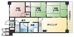 大阪府大阪市生野区巽中2丁目の賃貸マンションの間取り