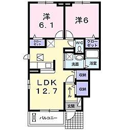 神奈川県海老名市杉久保の賃貸アパートの間取り