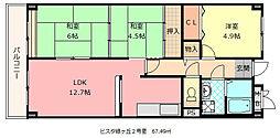 大阪府八尾市緑ヶ丘5丁目の賃貸マンションの間取り