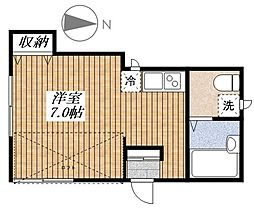 東京都福生市大字熊川の賃貸アパートの間取り