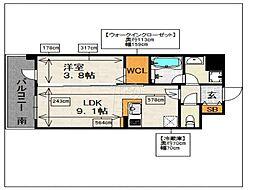 フリーデル桜坂[504号室]の間取り