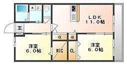 岡山県倉敷市玉島阿賀崎4丁目の賃貸アパートの間取り