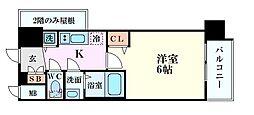 アドバンス大阪グロウスII 9階1Kの間取り