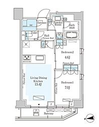 東京メトロ半蔵門線 半蔵門駅 徒歩6分の賃貸マンション 9階2LDKの間取り
