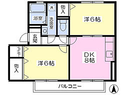 京成本線 京成佐倉駅 徒歩15分の賃貸アパート 2階2DKの間取り