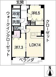 愛知県みよし市三好丘1丁目の賃貸マンションの間取り