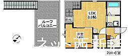 福岡市地下鉄七隈線 渡辺通駅 徒歩9分の賃貸アパート 2階1LDKの間取り