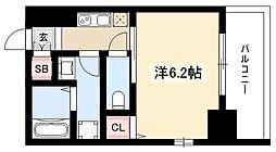 エステムコート名古屋泉プラチナムゲート 11階1Kの間取り