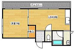 大阪府大阪市西成区梅南2丁目の賃貸マンションの間取り