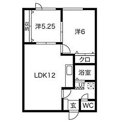JR学園都市線 新川駅 徒歩8分の賃貸アパート 2階2LDKの間取り