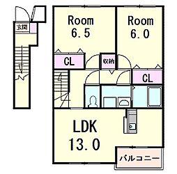 滋賀県愛知郡愛荘町石橋の賃貸アパートの間取り