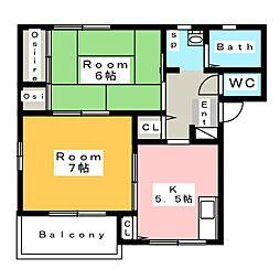 ヒーローズハウス[2階]の間取り