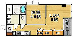 大阪府大阪市東淀川区豊里2の賃貸マンションの間取り