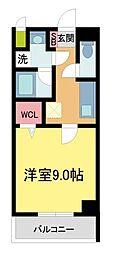 ラ・ビィNAKAZEN 3階1Kの間取り