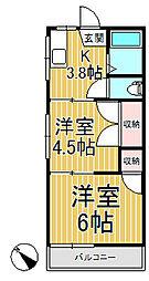 第1涼風荘[202号室]の間取り