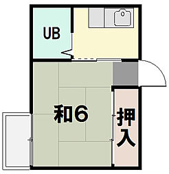 第二サニーコーポ[1E号室]の間取り