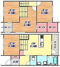 [タウンハウス] 兵庫県神戸市東灘区岡本9丁目 の賃貸【/】の間取り