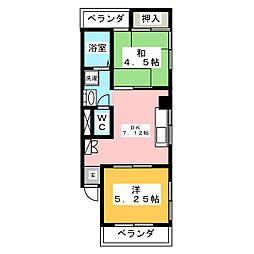 中島ハイツ 2階2DKの間取り