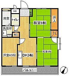 秋葉コーポ[1階]の間取り