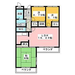 シャトー桜ヶ丘III[3階]の間取り