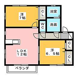 メゾン ドゥ ソレイユII[1階]の間取り