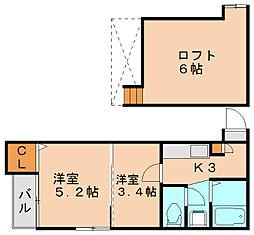 ヴェルナール美野島[2階]の間取り