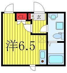 東武東上線 中板橋駅 徒歩7分の賃貸マンション 1階ワンルームの間取り