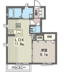 仮)ゆいの杜7丁目シャーメゾン 1階1LDKの間取り