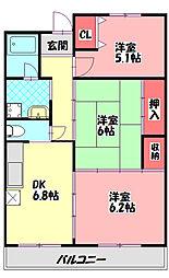 シャトーフルール 2階3DKの間取り