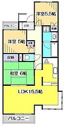 東京都国分寺市東恋ヶ窪2丁目の賃貸マンションの間取り