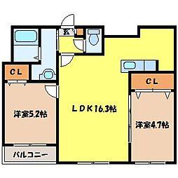 北海道札幌市西区山の手一条9丁目の賃貸マンションの間取り