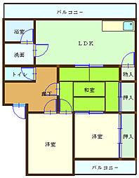 和歌山県海南市岡田の賃貸マンションの間取り