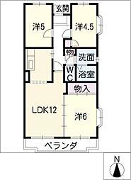 クレール桜田[3階]の間取り
