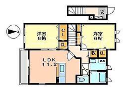 シャトー・シモハタ 4[2階]の間取り