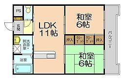 福岡県福岡市博多区東平尾1丁目の賃貸マンションの間取り