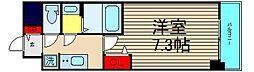 ファステ―ト難波グランプリ 11階1Kの間取り