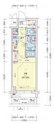 名古屋市営名城線 東別院駅 徒歩3分の賃貸マンション 2階1Kの間取り