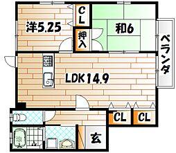 福岡県北九州市若松区二島3丁目の賃貸アパートの間取り
